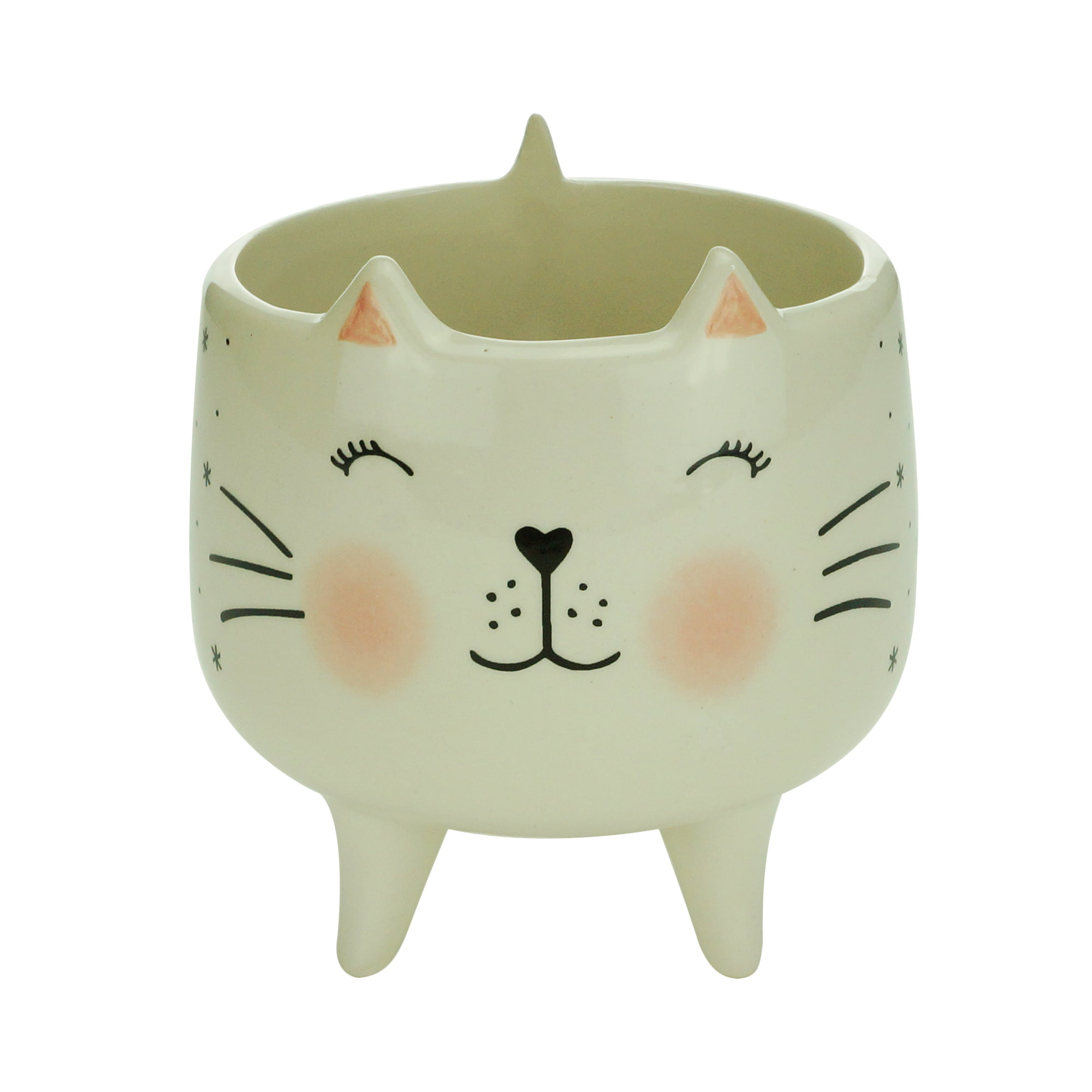 CACHEPOT CERAMICA CHARMY FEET CAT BRANCO