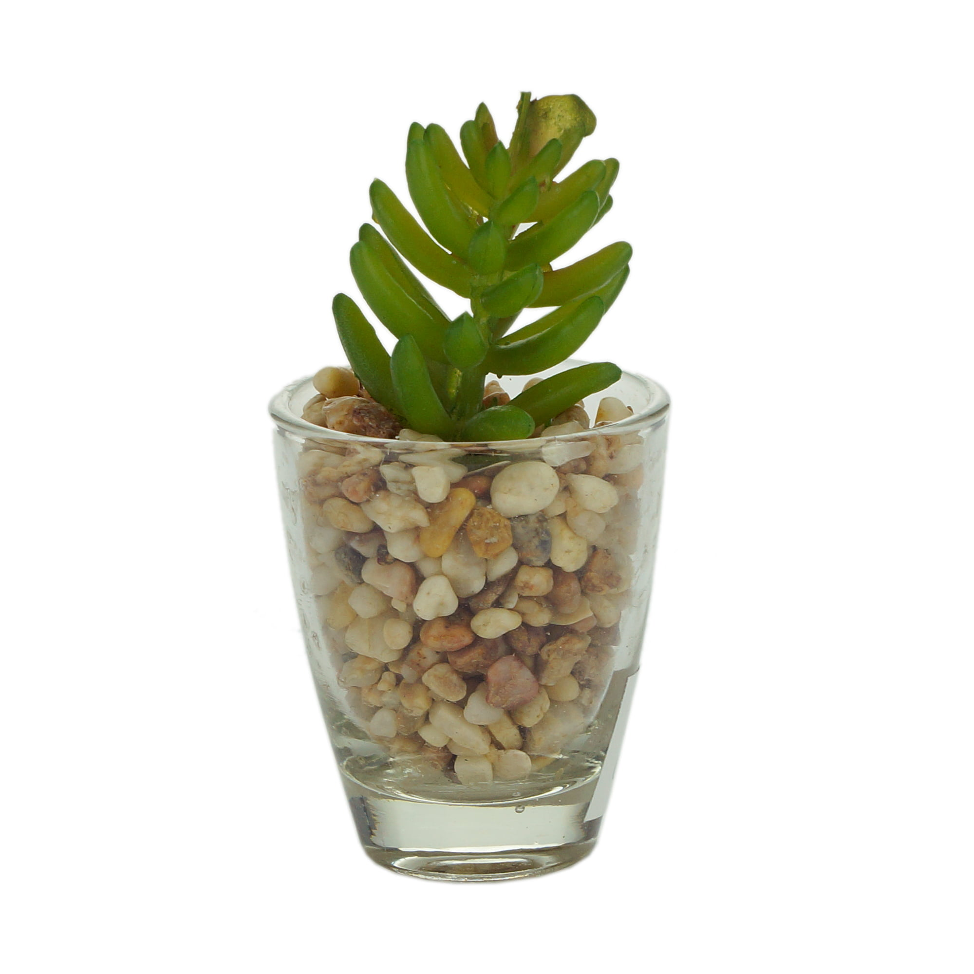 MINI VASO VIDRO LITTLE ROCKS VERDE COM PLANTA