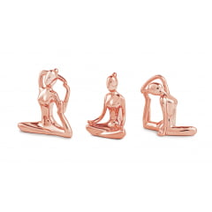 KIT ESCULTURA YOGA EM PORCELANA ROSE GOLD 3 PCS