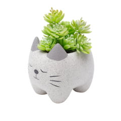 CACHEPOT CONCRETO SLEEPING CAT CINZA